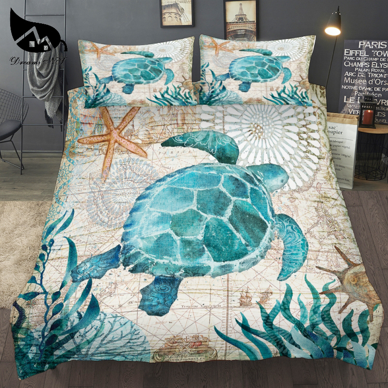 Dream NS Dropship special 3D Turtle Sea Duvet Cover nautical map Bedding Set Queen King size Polyester Bedlinen Home textiles
