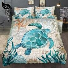 Dream NS Прямая поставка специальная 3D морская черепаха пододеяльник морская карта Постельный набор королева король размер полиэстер постельное белье домашний текстиль
