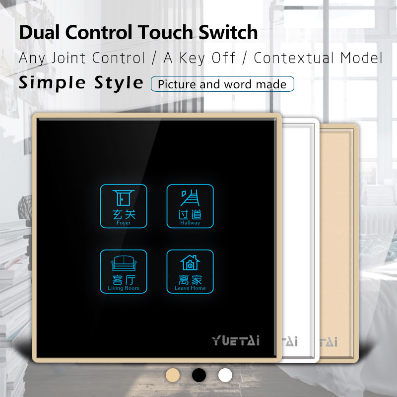 Control Switch 4 Gang 4way  Smart Wall Switch Wireless remote control touch light switch smart home us black 1 gang touch switch screen wireless remote control wall light touch switch control with crystal glass panel
