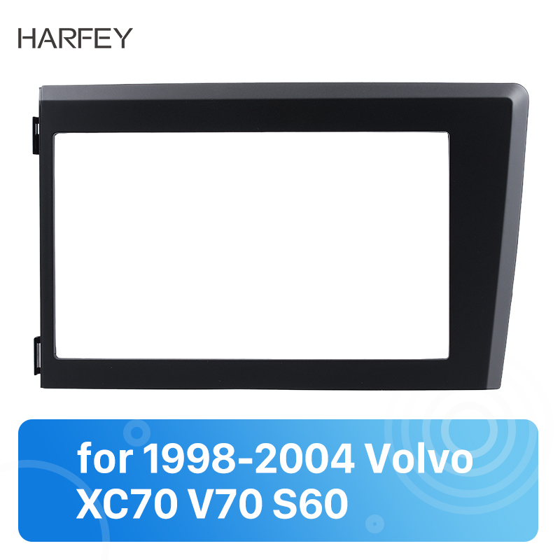 Harfey <font><b>2</b></font> <font><b>Din</b></font> Car Radio Fascia Plate Trim Kit Frame For 1998 1999 2000 <font><b>2001</b></font> 2002 2003 2004 Volvo XC70 V70 S60 Stereo 173*98mm image