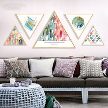 Nordic abstraction Art restaurant decoration painting color world triangle home mural kitchen wall