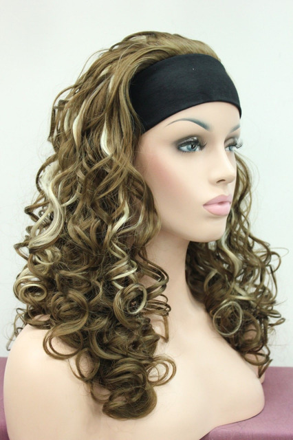 Ladies Sexy Light Brown W Blonde Highlight 3 4 Wig With Headband