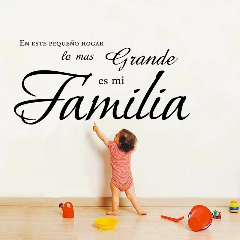 W308 En este pequeno hogar lo mas grande es mi Familia  Spanish Vinyl Wall Decal Quote S ...