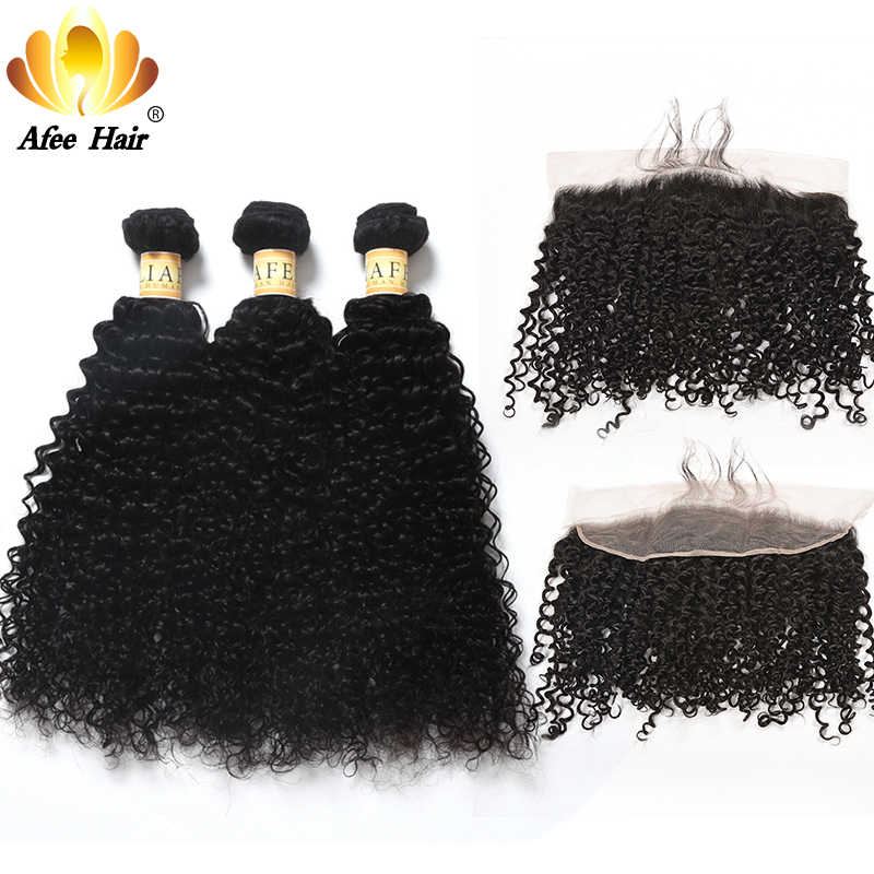 Aliafee Hair Malaysian Hair Curl Bundles With Frontal 13*4 Baby Hair Weave Kinky Curly Bundles Human Hair Non Remy