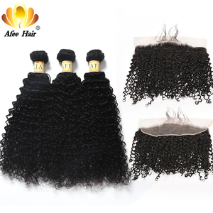 Aliafee Hair Malaysian Hair Curl Bundles With Frontal 13*4 Baby Hair Weave Kinky Curly Bundles Human Hair Non Remy(China)