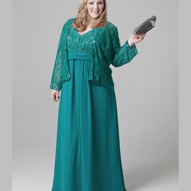 Plus Size Emerald Green Mother Of The Bride Dresses Lace Chiffon