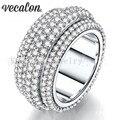 Vecalon 2016 Женщина кольцо 310 шт. Полный Вокруг Имитация алмазный Cz Стерлингового Серебра 925 обручальное кольцо Обручальное кольцо для женщин