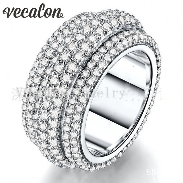 Vecalon 2016 Female ring 310pcs Full Around Simulated diamond Cz 925 Sterling Silver Engagement wedding Band ring for women