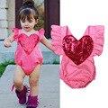 Lantejoulas moda Macacão de Bebê Roupas de Bebê Meninas Verão Roupa Do Bebê Recém-nascido Roupa Bebes Vermelho de alta qualidade Do Bebê Roupas de Menina definido