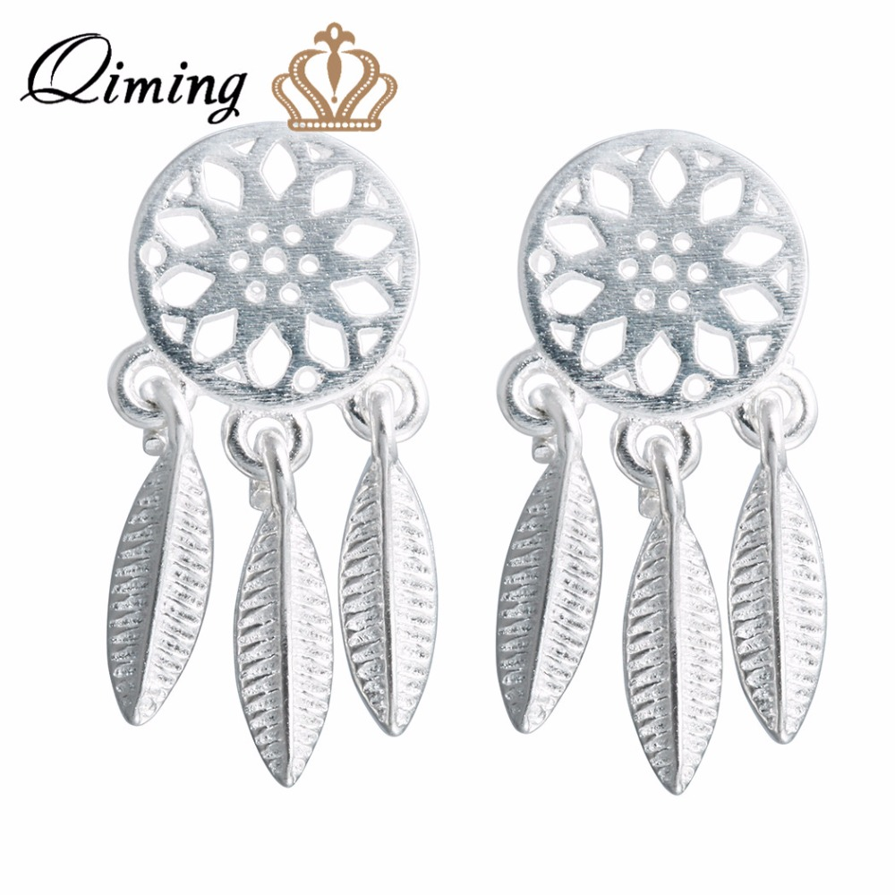 Qiming 925 Sterling Silver Fashion Ethnic Brushed Tassel Dreamcatcher With  Feathers Stud Earrings For Women Party