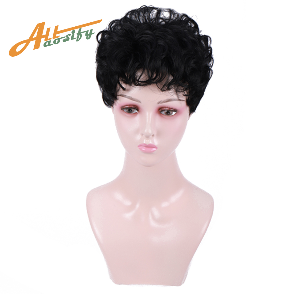Allaosify Short Pixie Cut Wigs With Natural Bangs Short Wigs For Black Women Curly Bob Wig Fluffy Layered Synthetic Wig For Sale