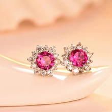 Ruifan Elegant Red Cubic Zircon Stud Earrings for Women Real 925 Sterling Silver Earrings Christmas Party Jewelry Gifts YEA057 ruifan pink natural stone strawberry quartz women s earrings real 925 sterling silver stud earrings for women jewelry yea237