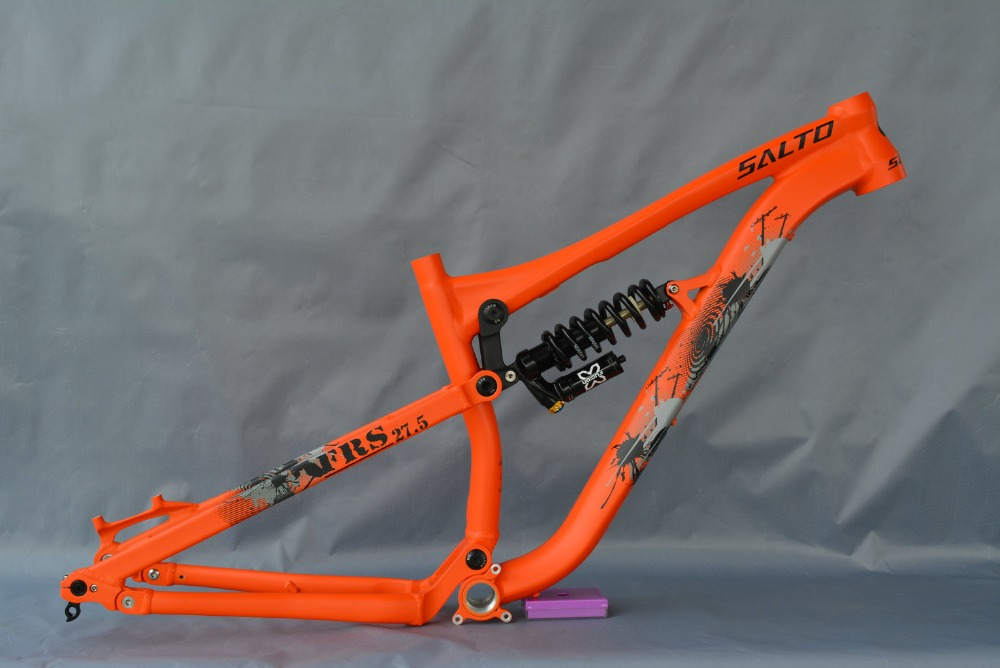 2018 Newest Aluminium Bike Suspension Frame Mountain Bicycle Rear Shock Frames 27.5ER Downwill Frame Shaft 142*12mm Orange Color
