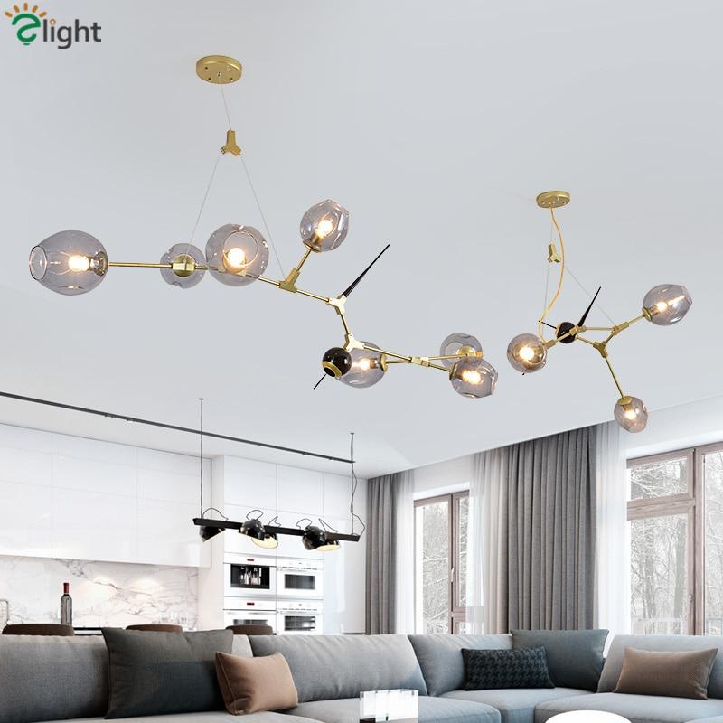 New Lindsey Explosive Glass E27 Led Pendant Light Post Modern Toggery Gold Metal Led Suspend Lamp Lustre Hanging Lamp