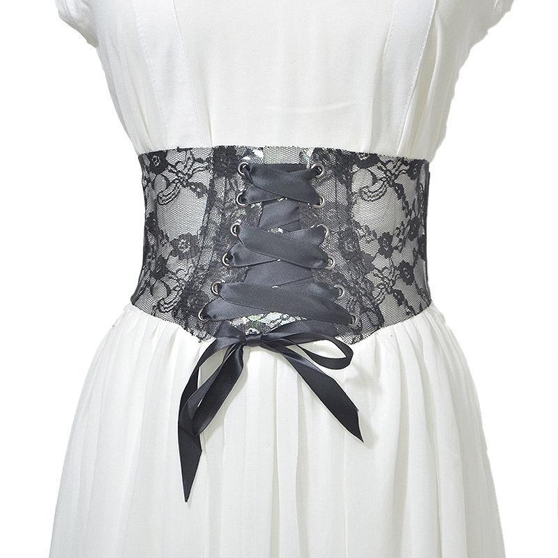Cross-Border Special Heating Sales New Ladies Wide Belt Ladies Baitao PVC Transparent Lace Printing