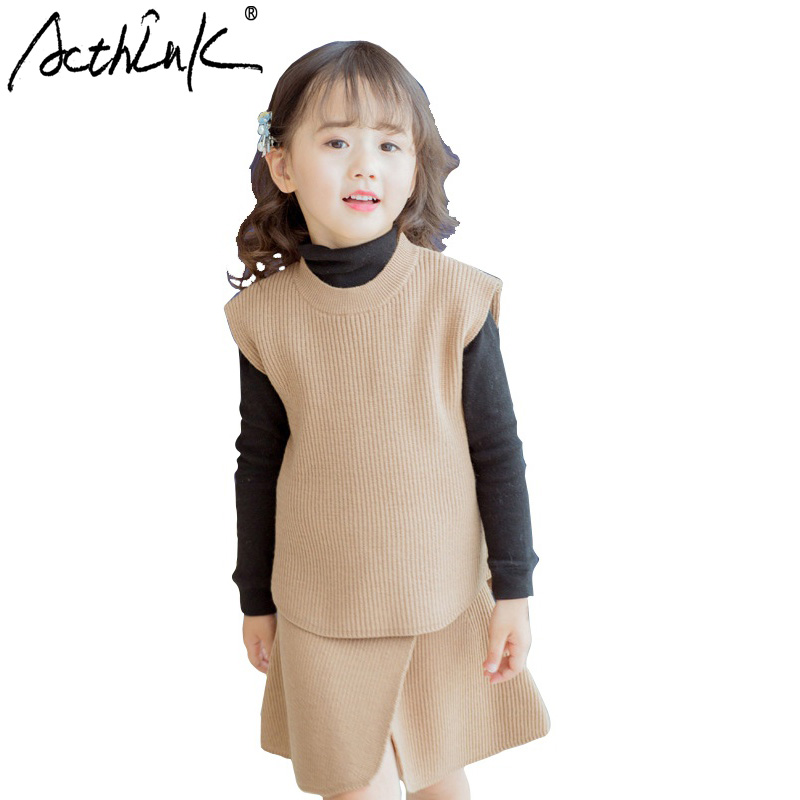 ActhInK 2017 Baby Girls Sweet Style Knitted Two Pieces Skirt Clothing Suit Set O-Neck Winter Woolen Vest and Short Dress,TC084 2016 rex rabbit fur vest girls lovely hooded rabbits short coat vest children s solid pink and white short o neck vest for baby
