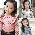 Free shipping!Hot sale 2015 Spring and autumn child clothes,baby girls t-shirt,Casual,Dot,Long sleeve girl clothing kids wear.