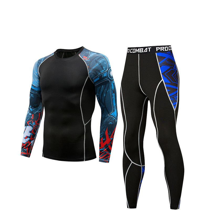 Quick-Drying Men's Running Suit 2 Pieces / Set Compression Sports Suit Men's Long-Sleeved T-Shirt Basketball Tights Gym Fitness