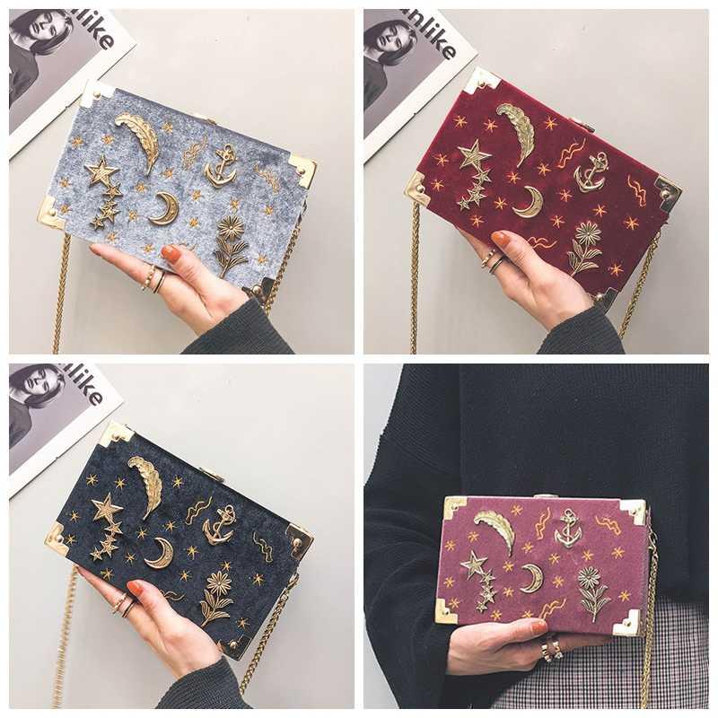 Lua estrelas saco de caixa feminina veludo mini crossbody saco moda marca designer squre bolsas com correntes bordado nacional coreano