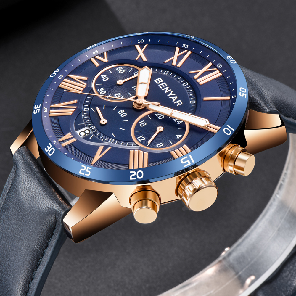 Fashion Mens Business Watch Genuine Leather Casual Men Sport Watches Military Waterproof Chronograph Luxury Wrist Waches Blue