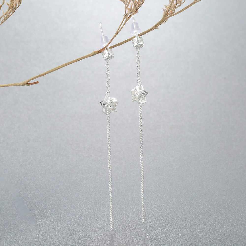 CHENGXUN 1 para kobiety kryształ małe Tassel spadek kolczyki długi liniowy gwiazda dynda kolczyk biżuteria prezent na Boże Narodzenie