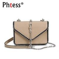 2018 Women Messenger Bag Mini Tassel Bags For Girls Sac A Main Female Leather Shoulder Rivet
