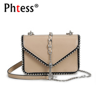 2018 Women Messenger Bag Mini Tassel Bags For Girls Sac A Main Female Leather Shoulder Rivet