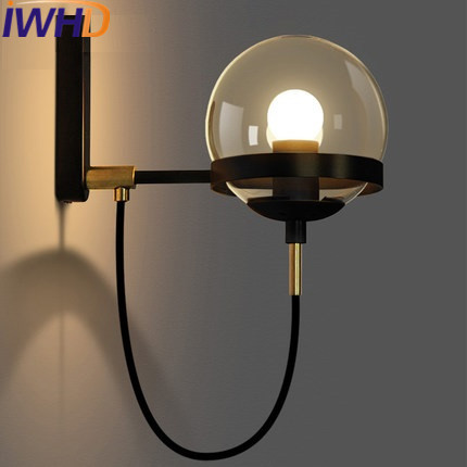 Фотография IWHD Glass Ball Industrial Vintage Sconce LED Wall Light Fixtures Restaurant Bedroom Retro Wall Lamps Applique Luminaire