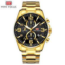 MINI FOCUS Luxury Brand Mens Sport Watch Gold Full Steel Quartz Watches Men Date Waterproof Military Clock Man relogio masculino - DISCOUNT ITEM  48% OFF Watches