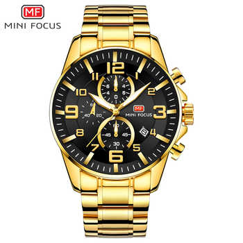 MINI FOCUS Luxury Brand Mens Sport Watch Gold Full Steel Quartz Watches Men Date Waterproof Military Clock Man relogio masculino