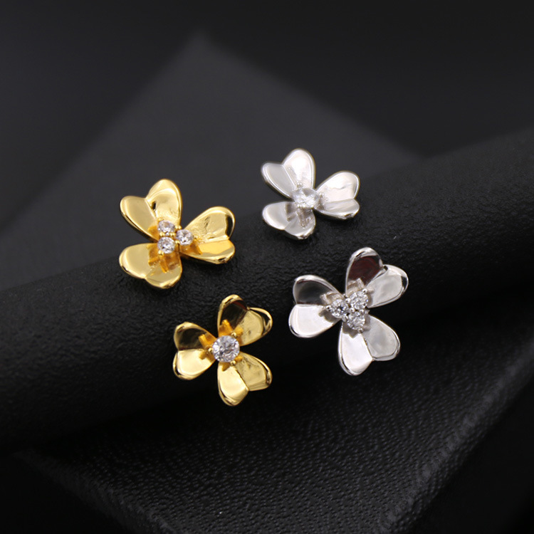Hot Brand Titanium steel Jewelry For Women Wedding Ring 2 Clover Flower Jewelry Rose Gold Rings Top Quality Adjustable
