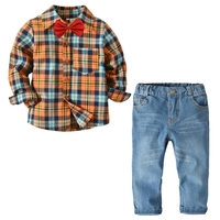 Children's Boys Set Long Sleeve Lapel Checkered Shirt + Denim Trousers Classic Checkered Pattern sets