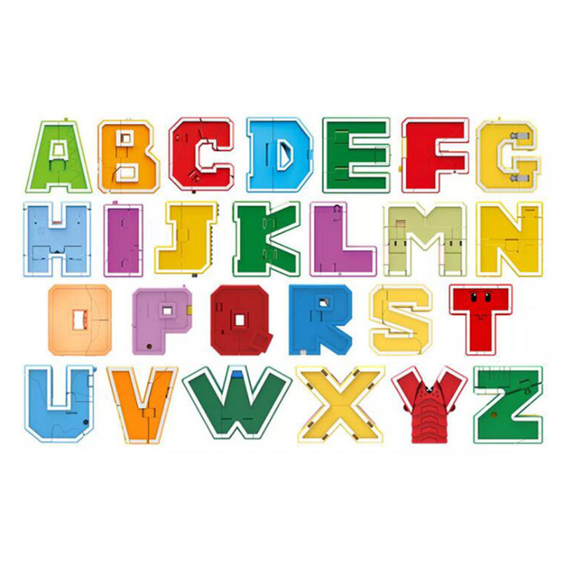 26pcs English Letter Robots Deformation Letter Robot Action Figures Transformation toy Puzzle Kids Gifts Educational toy-in Action & Toy Figures from Toys & Hobbies    1