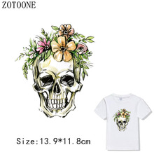 Punk Skull Lion Patch Flower Clothes Sticker Ironing Heat Transfer Iron On Patches Diy A-level Washable Applique For Clothing b