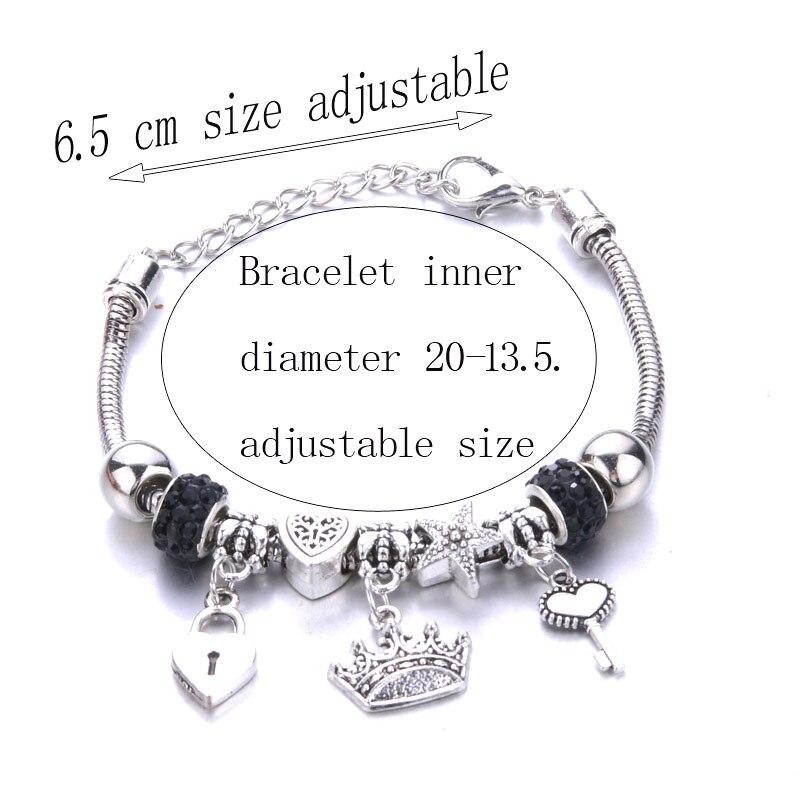 Antico originale corona chiave blocco forma 6 colori braccialetti con ciondoli per le donne perle di vetro braccialetto di marca e braccialetto regali gioielli fai da te 2