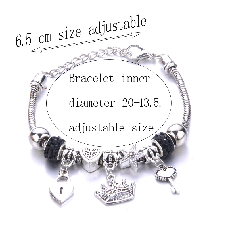 Antique Original Crown key lock Shape 6 colors Charm Bracelets For Women Glass Beads Brand Bracelet & Bangle DIY Jewelry Gifts