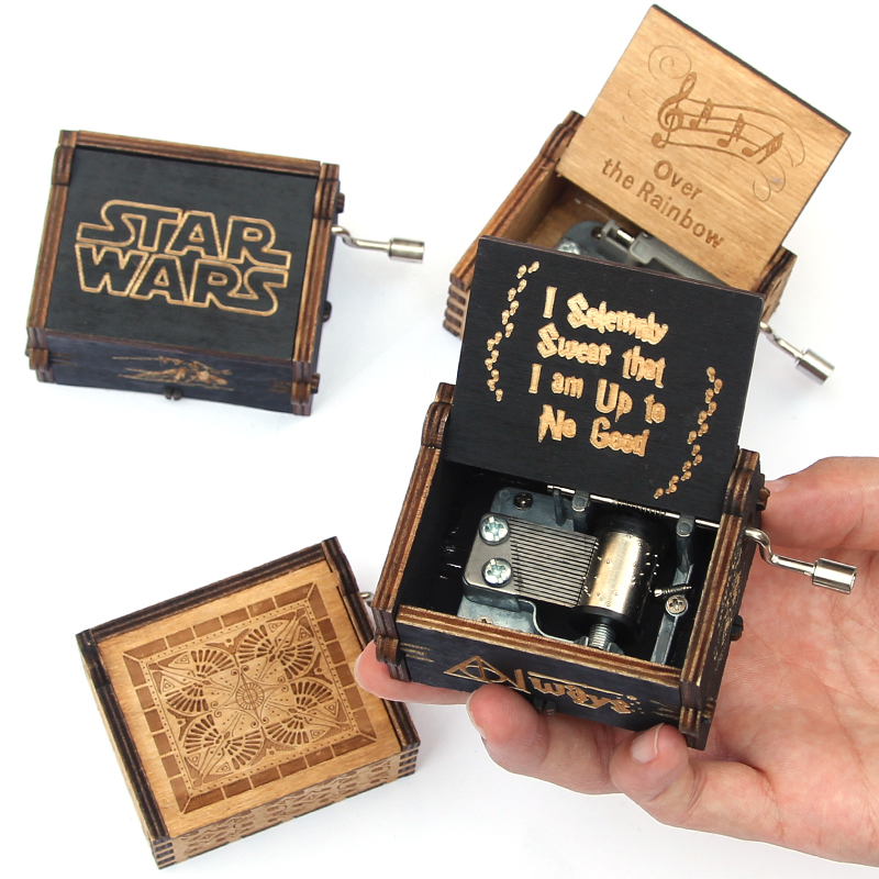 Antique Carved music box casket game of thrones Star Wars music box Wooden Hand Crank Theme caja musical gift box antique carved wood star wars game of thrones music box hand crank theme music welcome to sell friends cooperation