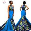2017 Африканские Женщины Длинные Платья Росы Наплечники Женщины Формальные Элегантные Платья Печати Воск Партия Платья Плюс Размер Dress Женский WY1314