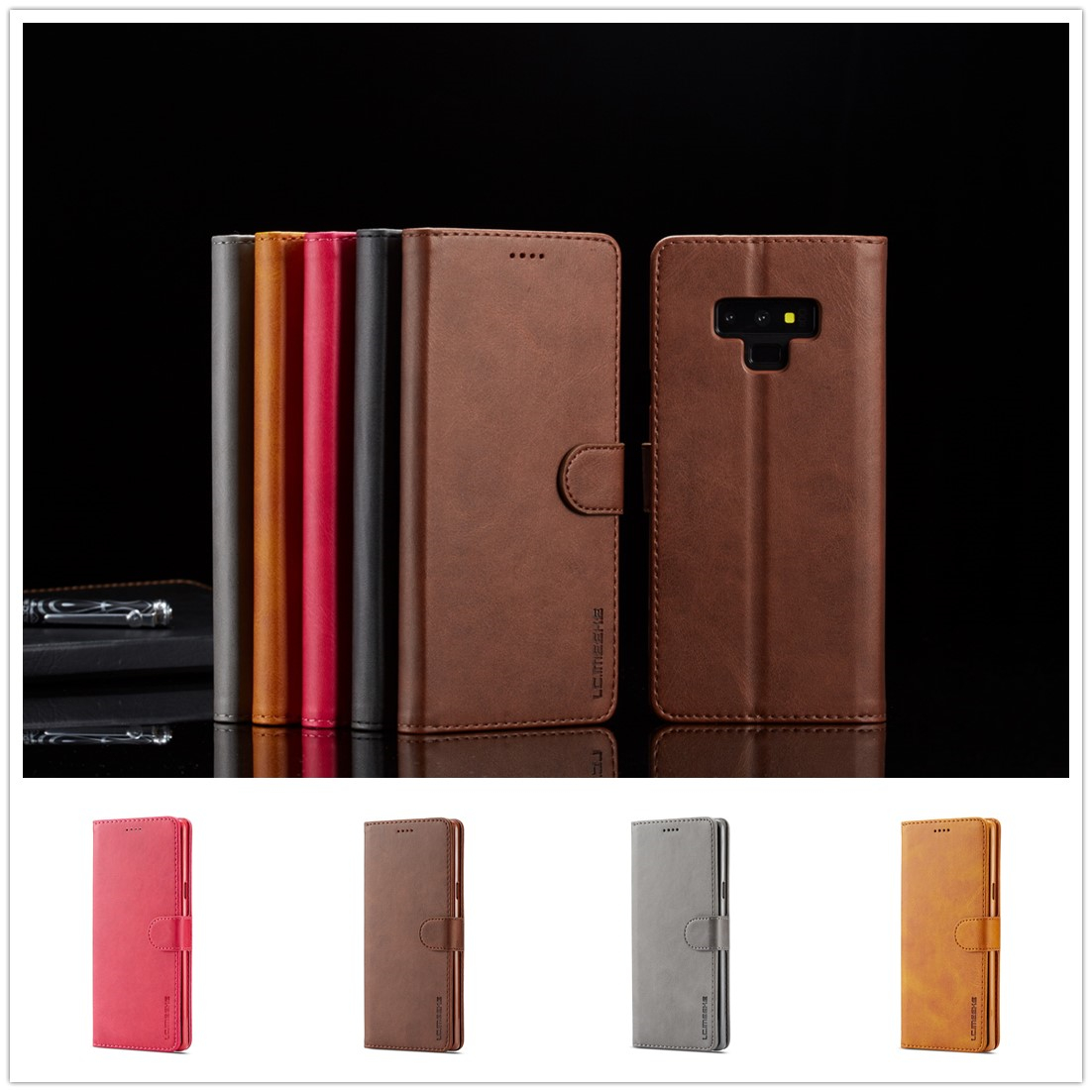 for Samsung A7 2018 Leather Case Flip PU Fundas for Samsung Note 9 8 Case Luxury Top Quality Wallet Cover for Galaxy S9 S8 Plus in Flip Cases from Cellphones Telecommunications