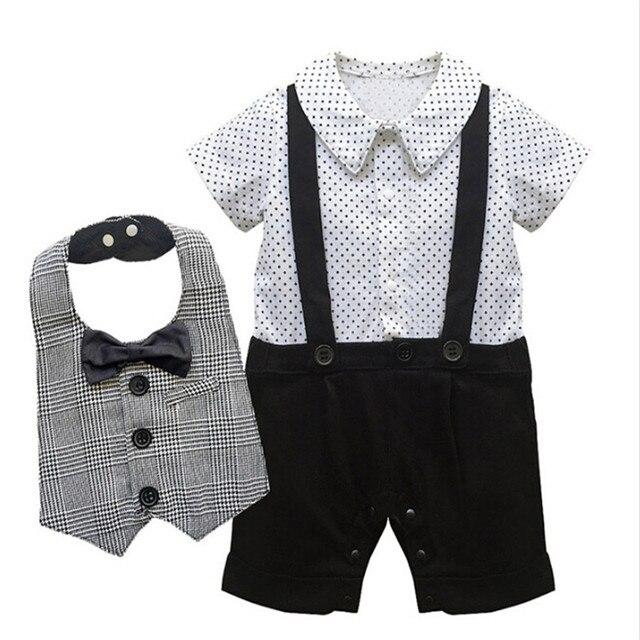 1e50bc6d6cf Black   White Design Newborn Set Baby Boys Short Sleeve Suspender Jumpsuit  Infant Gentleman Little Star Romper + Bow Tie Bib