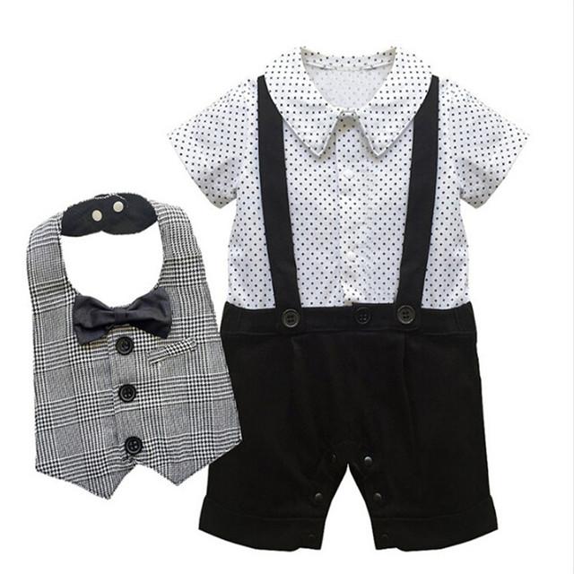 En Blanco y negro Diseño Conjunto Recién Nacido Niños Bebés de Manga Corta Suspender Mono Caballero Infantil Little Star Mameluco + Pajarita babero