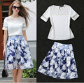 2016 Summer Women Pearls Beading Hollow Out Lace Patchwork Shirt Floral Print Sheer Organza Skirt 2 Piece Set Skirt Top S11
