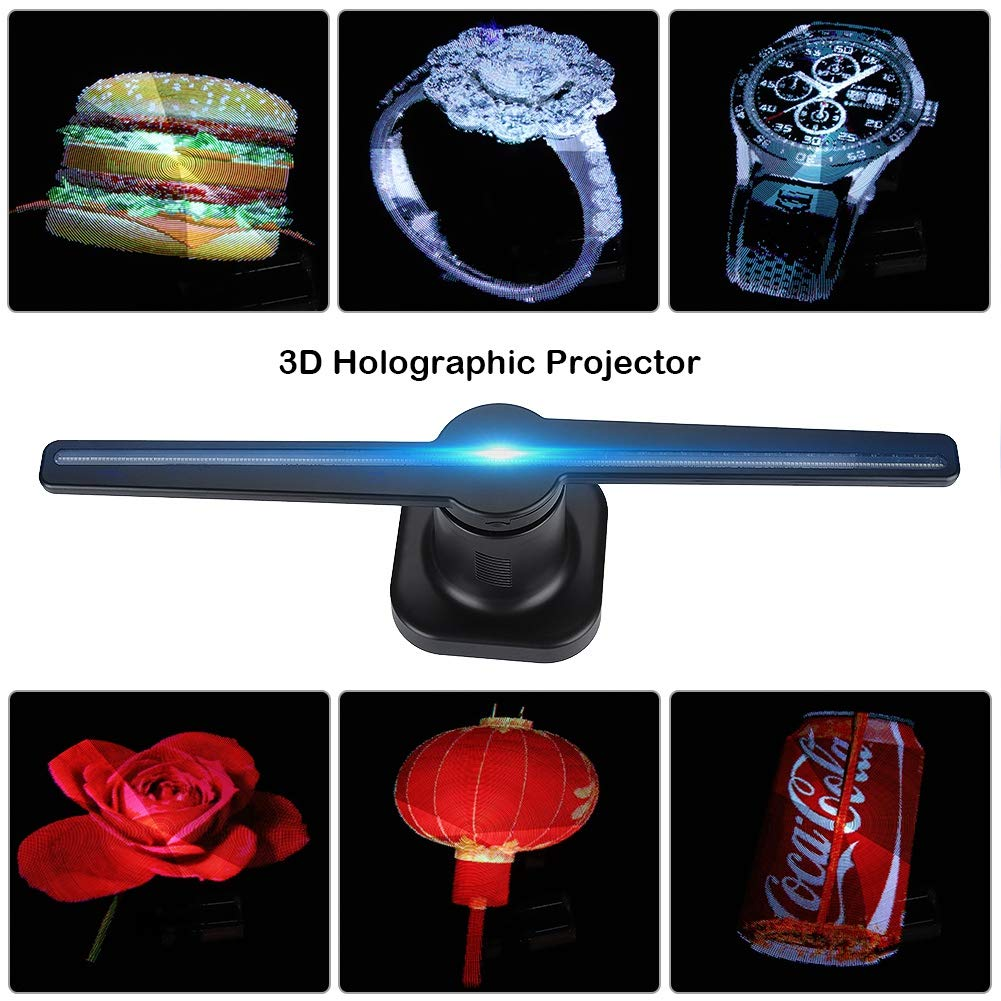 3D holograma Holograma display holográfico Publicidade Fã luz Do Projetor LEVOU wi-fi personalizado fotos e vídeos de 224 contas de luz