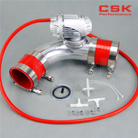 SQV  válvula de soplado BOV IV  4 + 2 25 '  57mm  90 grados  brida de tubo + kit de manguera de silicona roja