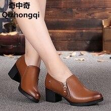 Новая осень 2017 Женская обувь из натуральной кожи, глубокий рот Боковая молния теплые ботинки Большие размеры женская обувь 35–43, бесплатная доставка