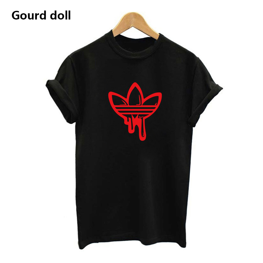 hot AD Printing Women s T shirt Casual Round neck European and American tide black white