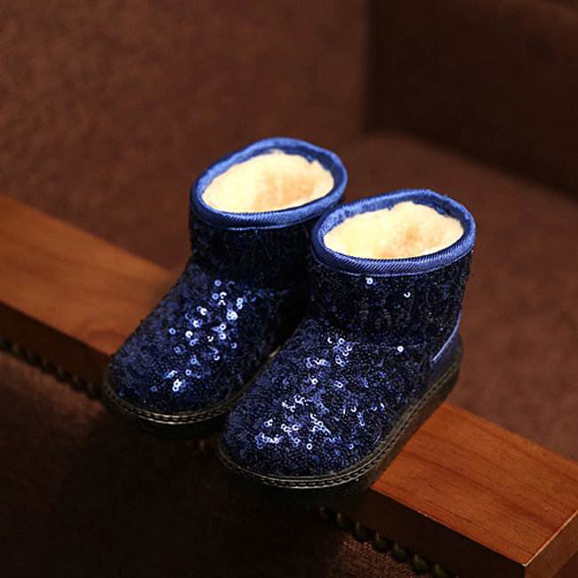 girls child shoes princess paillette snow boots kids baby cotton padded shoes plush warming boots boys