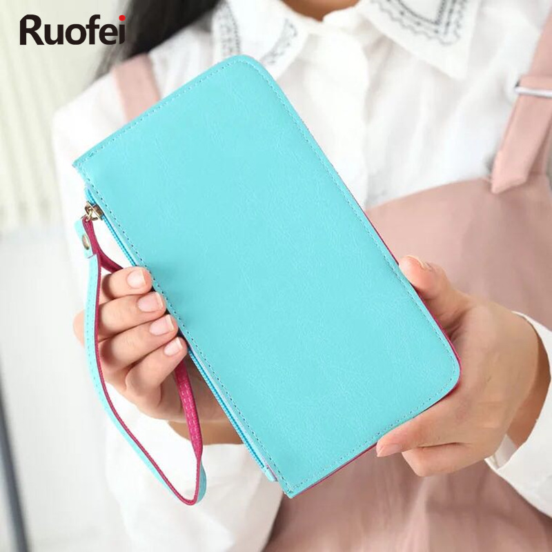 2017 New women handbag brand leather zipper clutch wallet female candy color burglar robbed purse lady multi-function wallet new brand candy colors leather carteira couro cards holder for girls women wallet purse plaid embossing zipper wallet