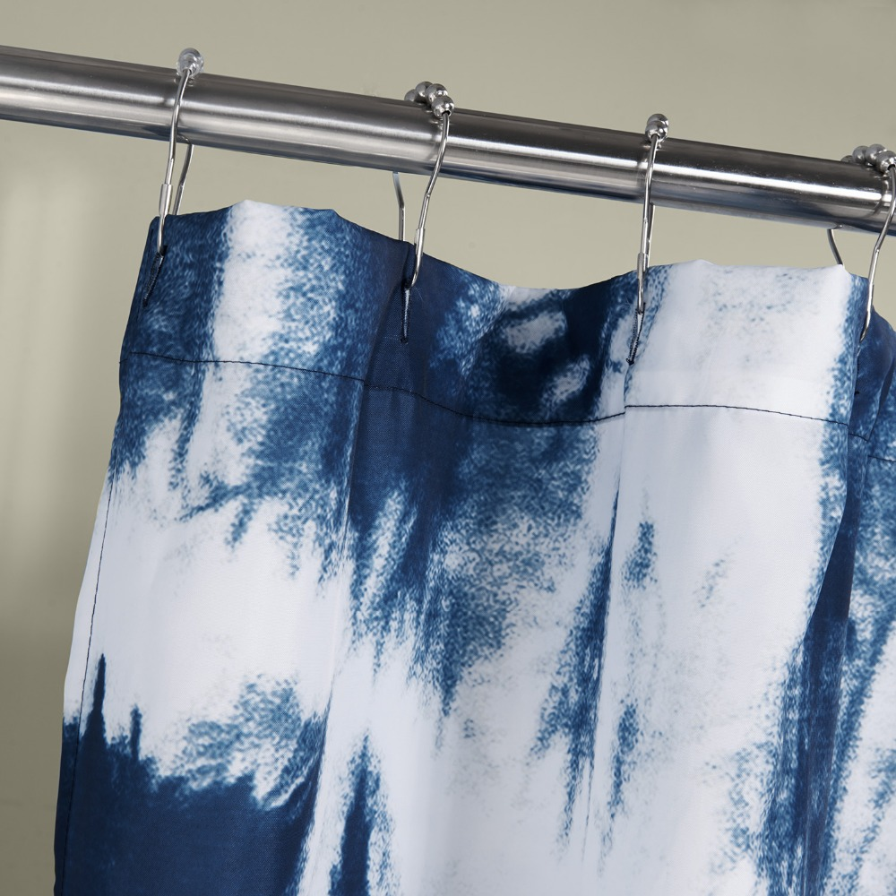 Printed Blue Mediterranean Style Elegant Shower Curtains Bathroom ...