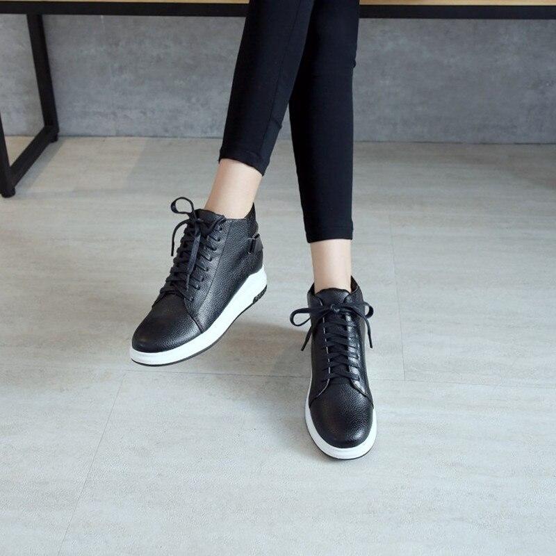 Grande taille 34-43 femmes bottes compensées cacher talons bottes décontractées doux plat cheville Martin chaussures mujer mode à lacets Sport bottines - 3